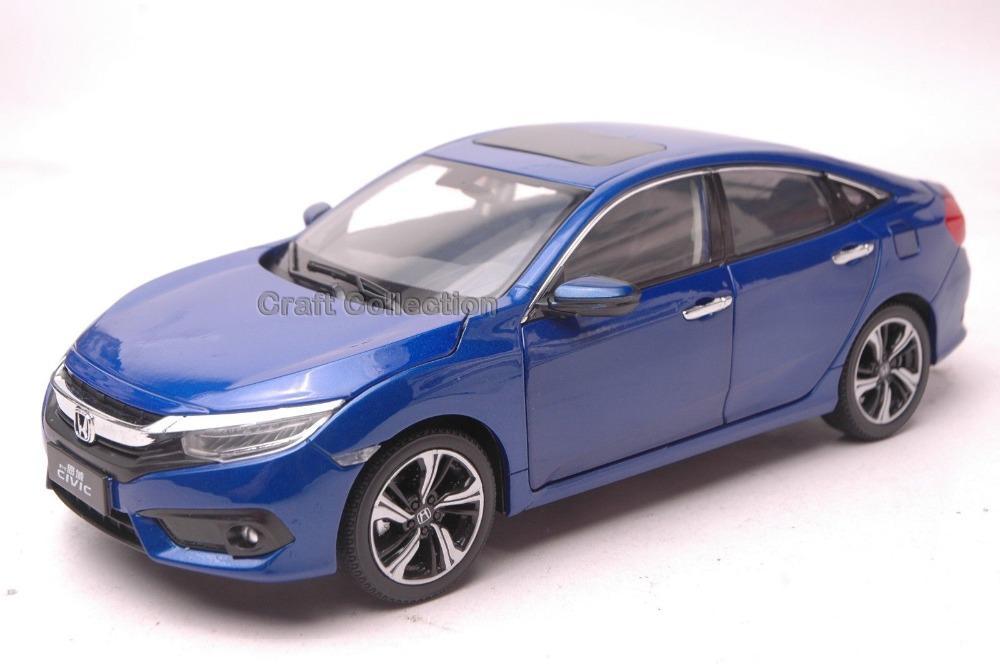 Blue 1 18 Honda Civic SI 2016 10th Generation Diecast Model Show Car Miniature Toys