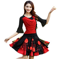 Hot fashion Latin dance new square dance costume Spring and summer middle aged long sleeved shirt Latin dance wear suit