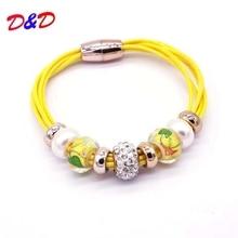 2016 New Fashion Jewelry Charm Wholesale Bracelet 7 Leather Bracelets For Women Bangle Europe Beads Magnetic Clasp