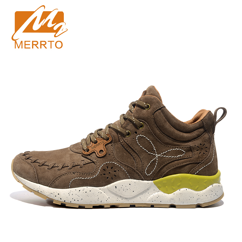 ФОТО 2017 Merrto High Cut Walking Shoes For Men Outdoor Non-slip Breathable Shoes Khaki Grey Red Blue Free Shipping MT18626