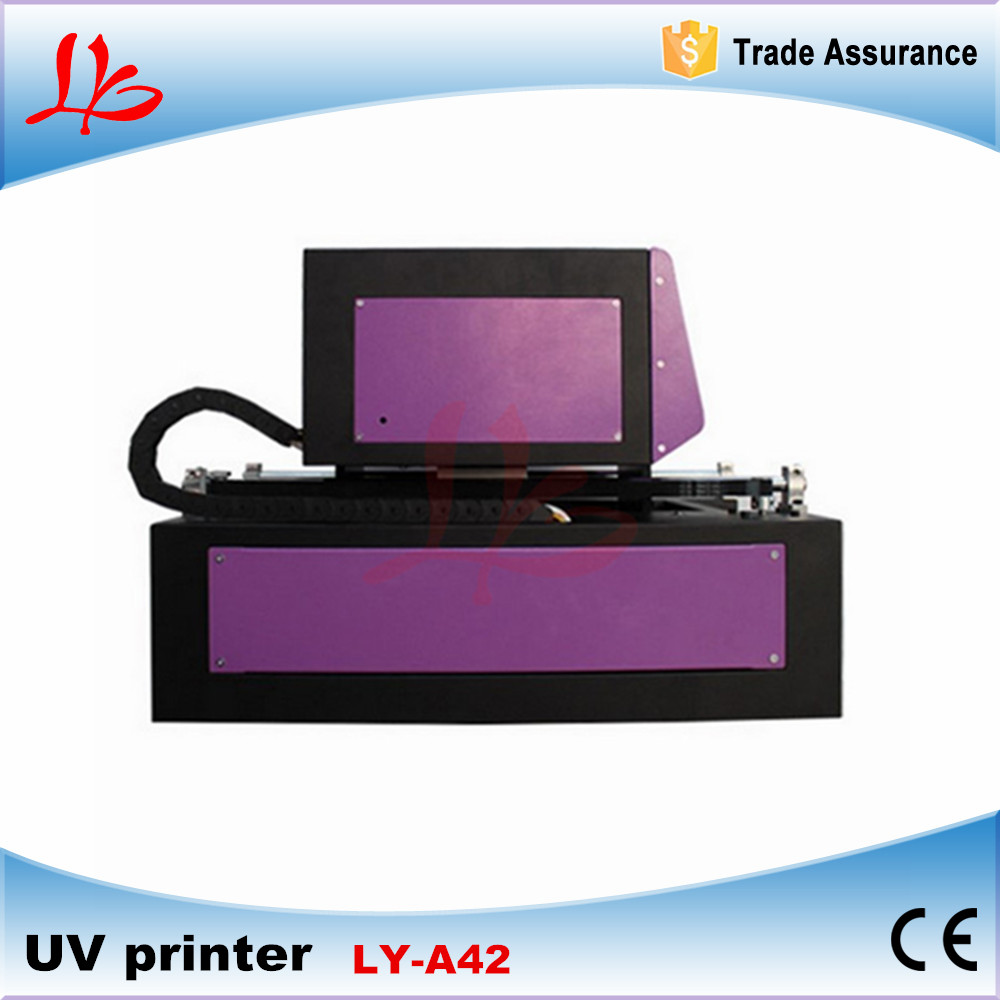 LY A42 size 210x400mm digital flatbed a4 uv printer UV printer, cell phone case/plastic card/transparent business ce certification a4 mini uv flatbed printer for photos printing