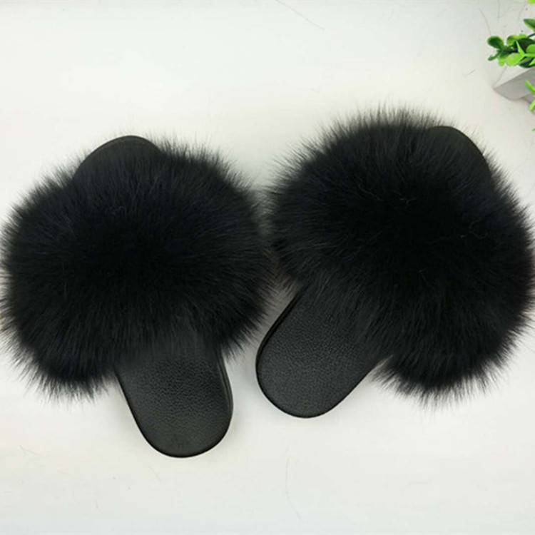 Real Fur Slippers Women Fox Home Fluffy Sliders With Feathers Furry Summer Flats Sweet Ladies Shoes Large Size 45 Home Pantufas