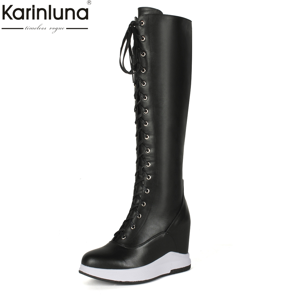 KarinLuna Brand new Large Size 32-40 Cow Leather Zip Up Knee High Boots Woman Shoes High Heels Add Fur Winter Boots Shoes Woman цена