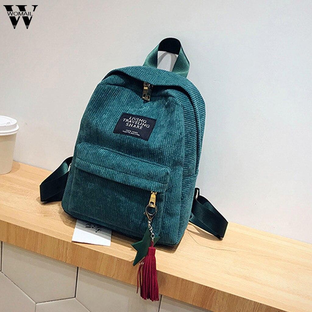 Backpack Female Teenage-Girls Corduroy-Design Mini Women Simple Preppy-Style New Soft-Fabric