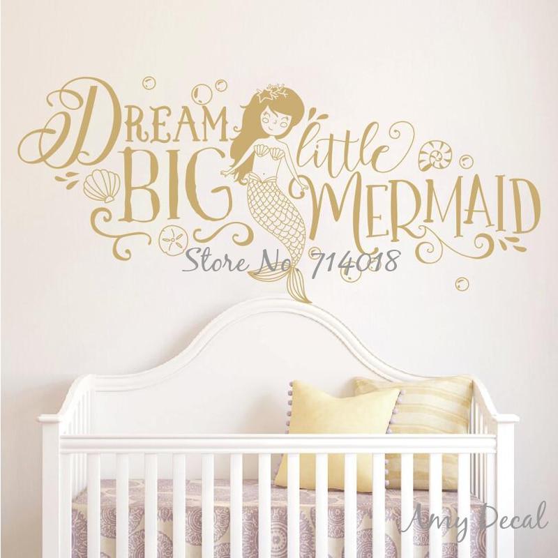 Dream Big Little Mermaid Wall Sticker Girls Nursery Decor