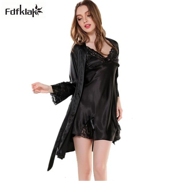 2017 New silk nightgown two pieces women sleepwear sleepshirts spring autumn  nightdress indoor clothing satin bathrobe ff0e4cbd9