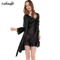 2019 New silk nightgown two pieces women sleepwear sleepshirts spring autumn nightdress indoor clothing satin bathrobe Q803