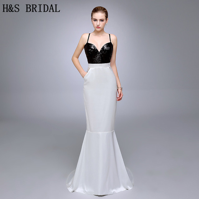 HS01 Sweetheart With Straps Black And White Simple Evening Gown ...