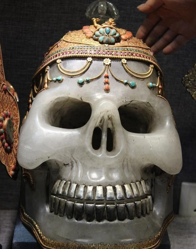 Natural Crystal Original Carving Inlay Coral Ruby Beryl Gem Devil's Skull Head