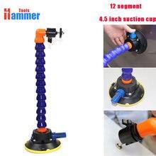 4.5Inch Zware Hand Pomp Zuignap Met Flexibele Zwanenhals Pijp En 360 Statief Hoofd Voor Auto Dent reparatie Led Lamp Houder