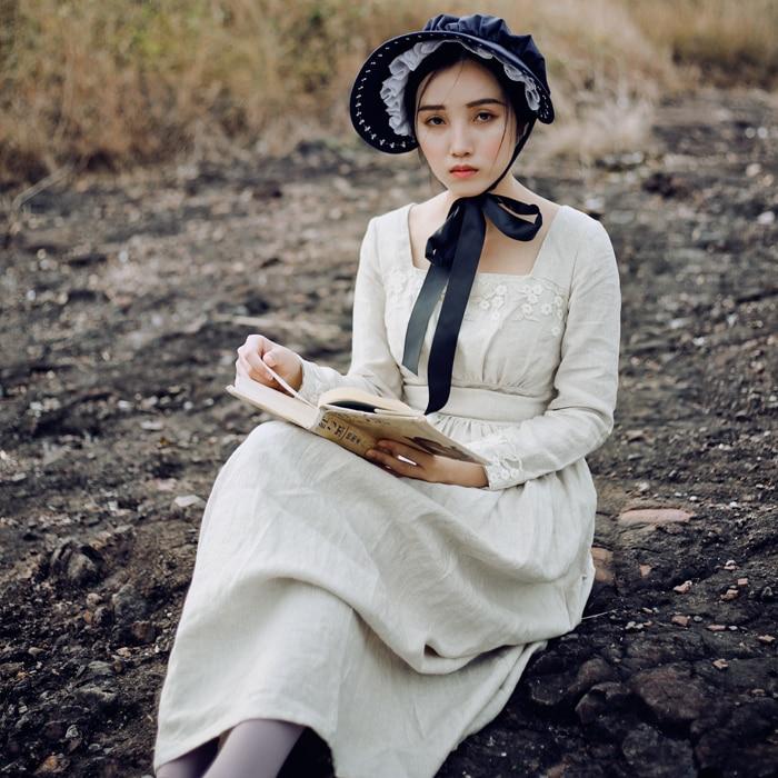 LYNETTE'S CHINOISERIE Spring Autumn Original Design Women French Vintage Slim Plaid Long Linen Dresses french workplace design