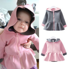 Пальто с капюшоном для маленьких девочек, куртка, кроличьи уши, теплая зимняя одежда с капюшоном, Размер 0-24M