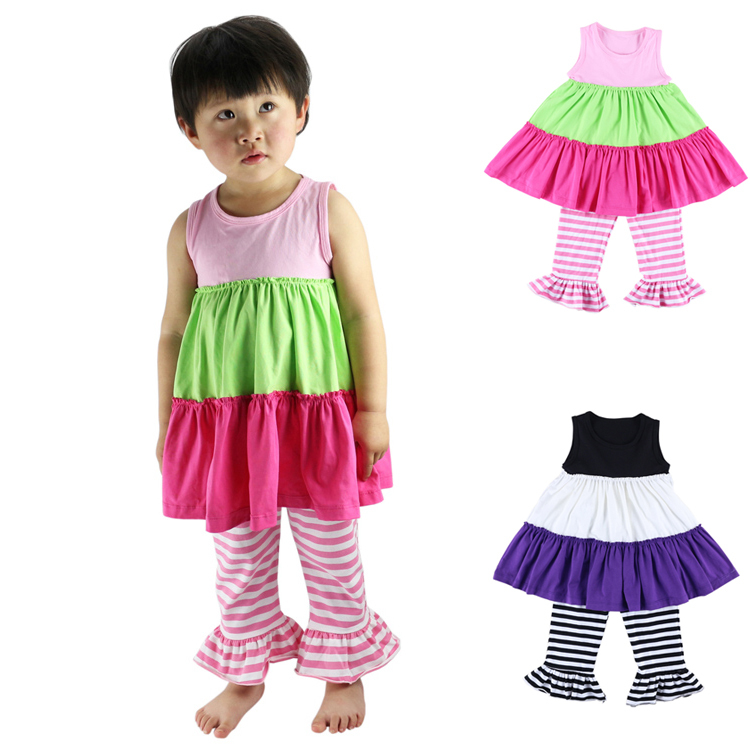 New Summer Girls Dress & Leggings 2pcs Child Brand Suit Knit Cotton Casual Baby Kids Clothes Ruffle Girls Clothing Sets