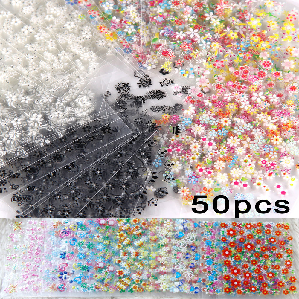 50 X Sheets 3D Nail Art Sticker Decal Nail Tips Flower Nails Stickers Manicure Nail Wraps Foil Decals (BUY 5, GET 1 FREE) 50 sheets 3d nail art stickers decals high quality mix color flowers design nail tips decoration tools