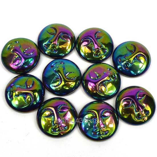 Free Shipping Aura Rainbow Violet Titanium Moon Goddess Face Created Cabochon Cab(4 Piece)
