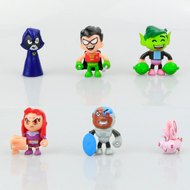 6 PCS Minifigure Cake Topper Toys Action Figure Toy Pvc Collections For Teen Titans Go Robin Raven Silkie Beast Cyborg