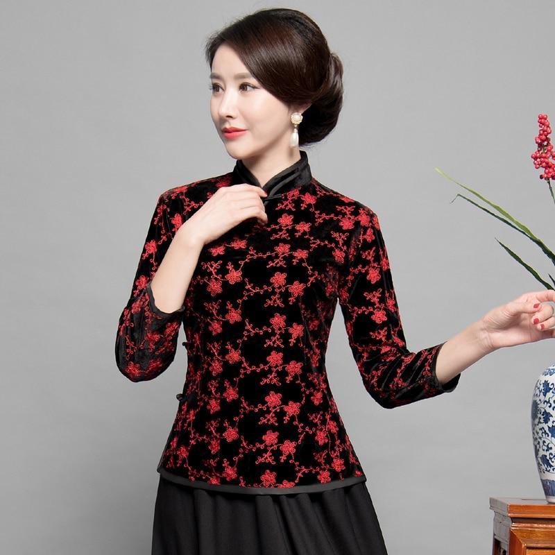 Nouveau été femmes chemise hauts traditionnel chinois velours Blouse dame Mandarin col Qipao Mujer Camisa taille M L XL XXL XXXL
