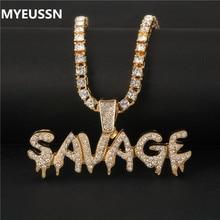 Шикарное ожерелье с надписью «дикарь» и подвеской, блестящее ожерелье с цепочкой для тенниса, колье в стиле хип-хоп, ювелирные изделия для мужчин