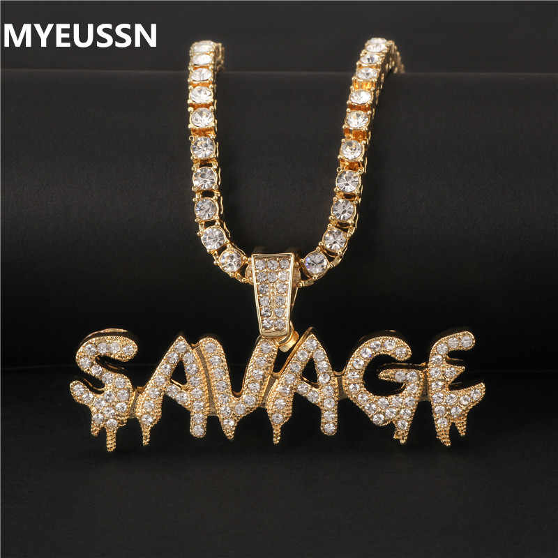 Bling Bling Savage Brief Ketting & Hanger Shiny Ice Out Ketting Met Tennis Chain Choker Hip Hop Sieraden voor Mannen