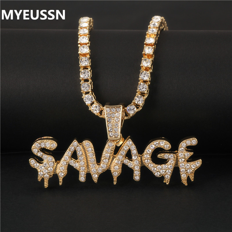 Bling Bling Savage Letter Necklace & Pendant Shiny Ice Out Link Chain Necklace With Tennis Chain Choker Hip Hop Jewelry For Men