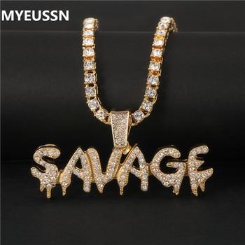 Bling bling selvagem carta colar & pingente gelo brilhante para fora link corrente colar com corrente de tênis gargantilha hip hop jóias para homem