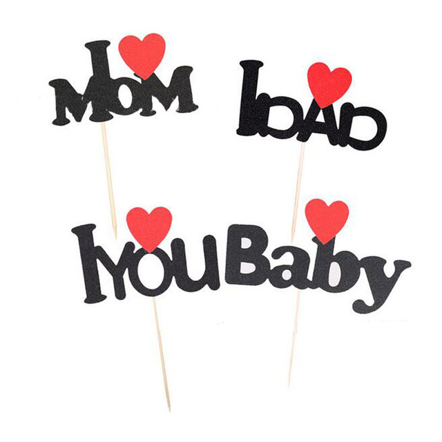 1pc Fathers Mothers Thanksgiving Day Parents Birthday Party Decorations Cupcake Toppers I Love Mom Dad Cake