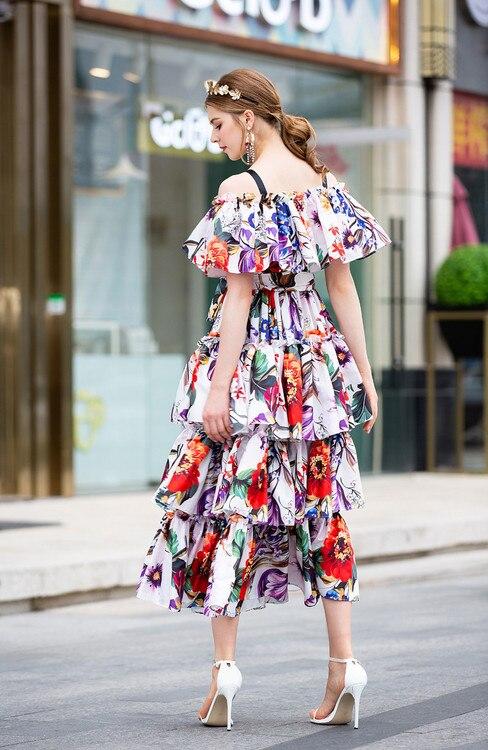 Floral De À Vintage Arrivée Nouvelle Piste 2019 Qyfcioufu Midi Bleu 2018 Manches Courtes Imprimer Robe Bretelles Haute Qualité Gradins Femmes JcuF3T1lK