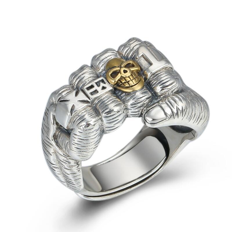 100% 925 argent crâne anneau croix symbole anneau en argent Sterling crâne homme anneau redimensionnable