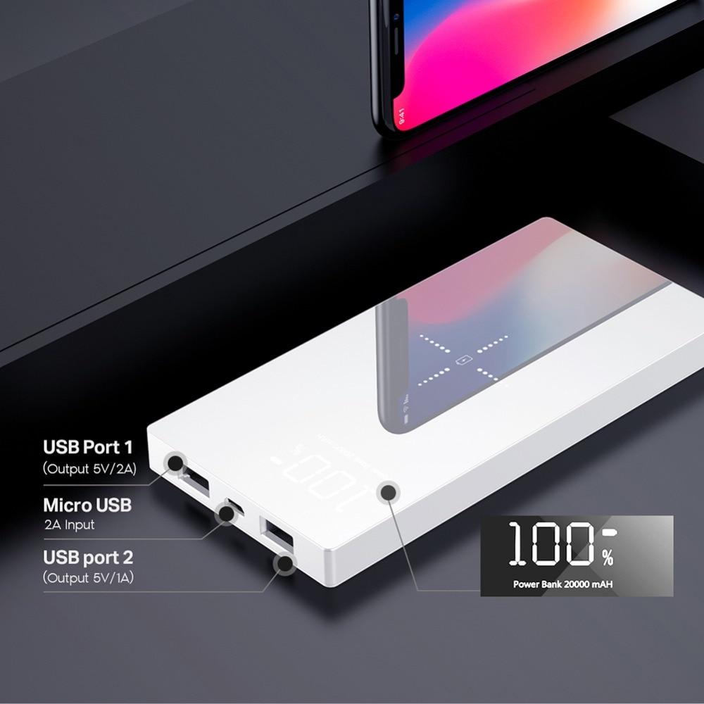 20000 mAh Charge Rapide 2A Power Bank Qi Sans Fil Chargeur Pour iPhone Xiao mi mi Rapide De Charge Externe Batterie Chargeur powerbank - 3