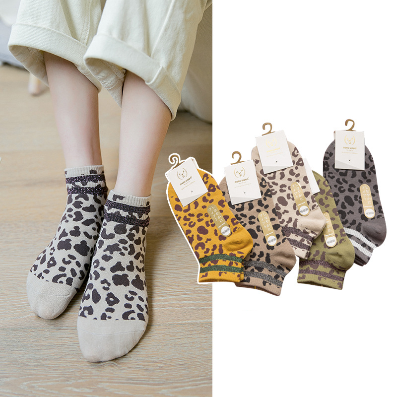 Women Socks 1 Pair 2019 Spring New Fashion Leopard Striped Ankle Socks Girls Cotton Novelty Women Fashion Cute Socks Lady