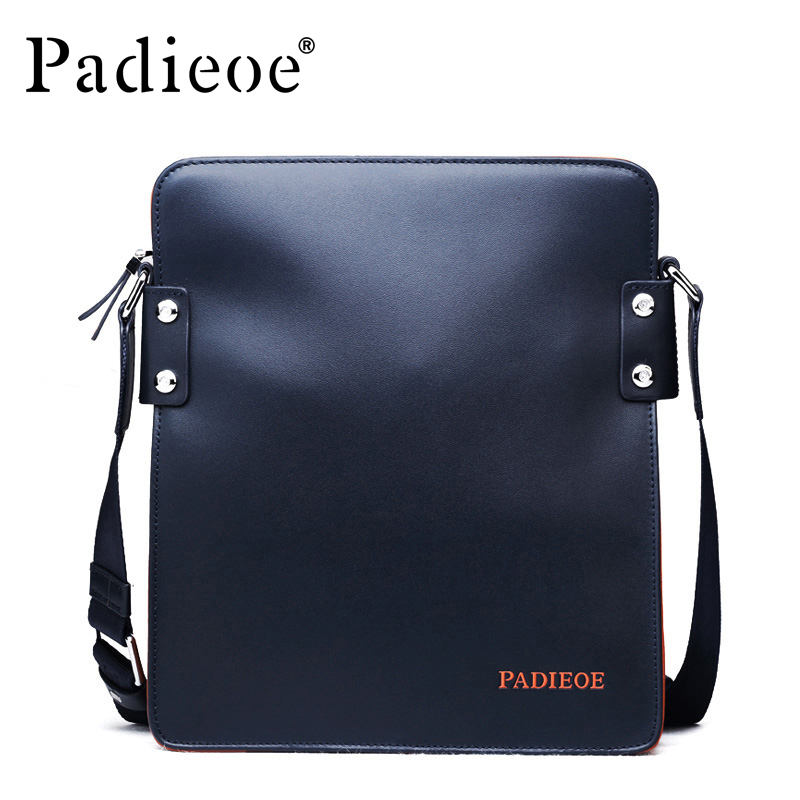ФОТО Padieoe Top grain Cow leather Handbag high quality Genuine Leather men shoulder messenger bag  black blue male business Handbags