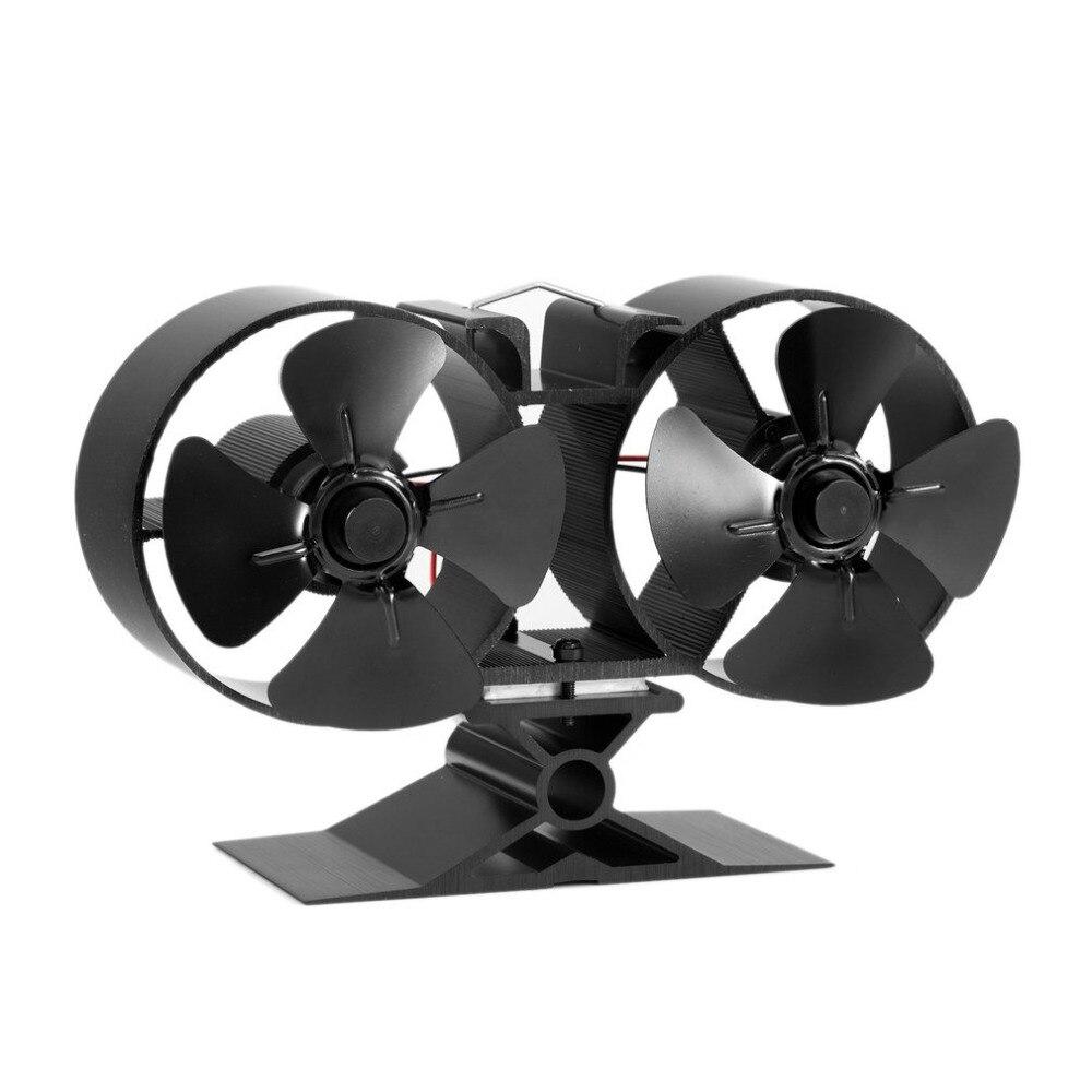 Nueva F260 4 cuchillas de doble estufa ventiladores combustible ahorro de energía estufa ventilador ecológico ventilador para el hogar Cocina accesorios