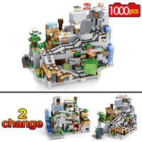 1000pcs My world Model Building Blocks Compatible Minecrafted The Mountain Cave With Elevator Bricks Toys For Children