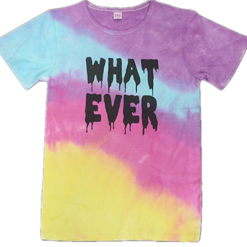 2018 new Europe tie dye rainbow gradient t-shirt english letter short-sleeved cotton casual top Q047