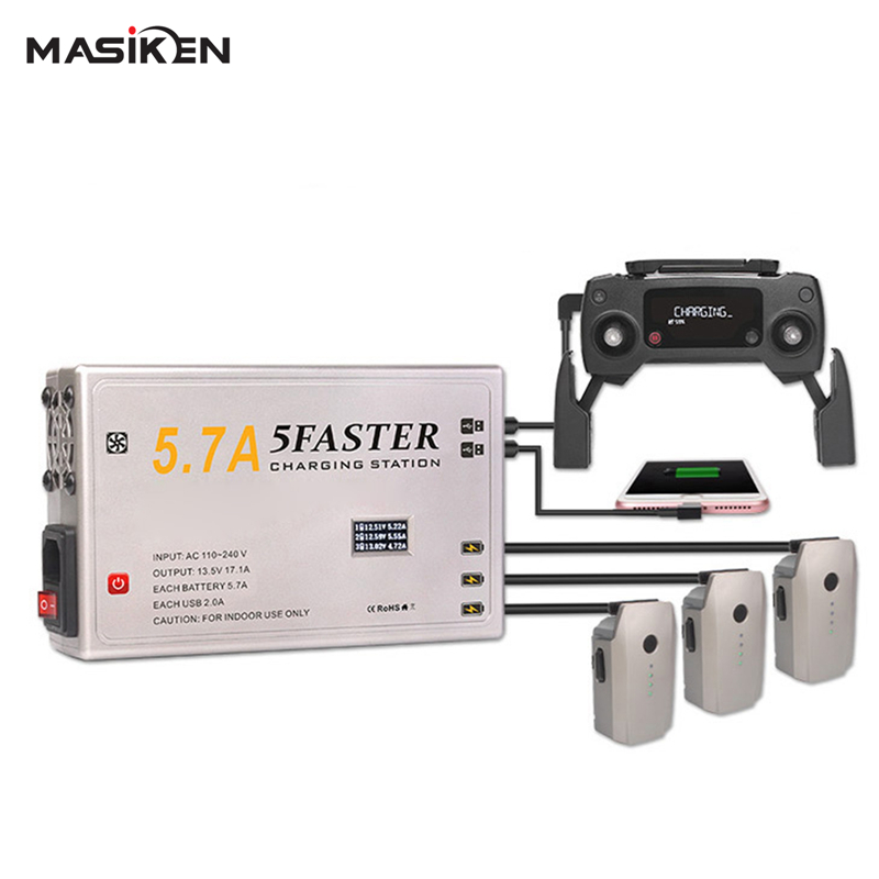 MASiKEN Multiple 5in1 Intelligent Battery Charger Charging for DJI Mavic Pro /PLATINUM Drone AC Fast Charger Drone Accessories 3 in 1 battery charger for dji spark intelligent flight battery charging hub
