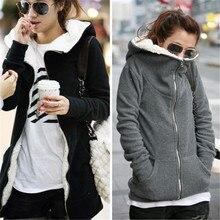 ZANZEA 4XL, зимние пальто, осень, женские длинные толстовки, свитшоты, Повседневная плотная флисовая верхняя одежда на молнии, куртка с капюшоном, плюс размер