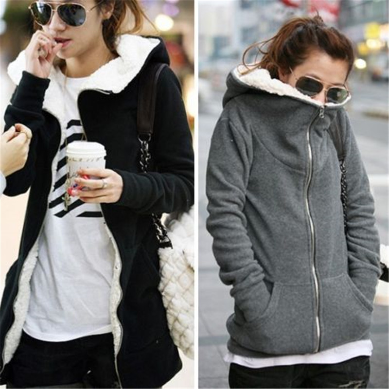 ZANZEA 4XL Winter Coats 2019 Autumn Women Long Hoodies Sweatshirts Casual Thick Fleece Zipper Outerwear Hooded Jacket Plus Size