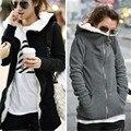Zanzea plus size outono inverno mulheres hoodies moletons brasão 2017 moda zíper de lã grossa outwear casacos jaquetas casuais