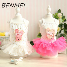 BENMEI Dog Dress Tutu Dresses Lace Princess Dresses Dog Clothes Party Wedding Printing Cartoon Rabbit Dresses