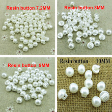 100pcs  ( /8MM/9MM/10MM) White Colors pearl Resin Buttons Fit Sewing or Scrapbooking kid button R-273