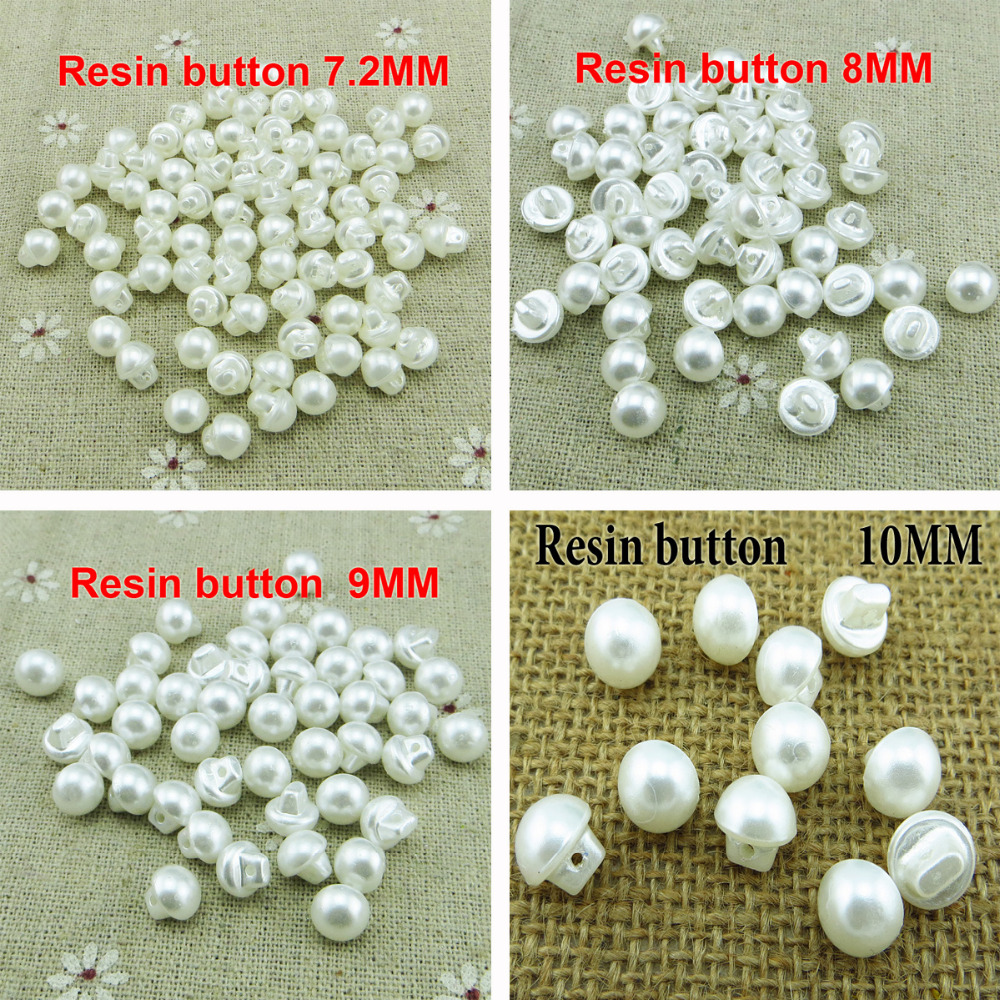 100pcs ( /<font><b>8MM</b></font>/9MM/10MM) White Colors pearl Resin <font><b>Buttons</b></font> Fit Sewing or Scrapbooking kid <font><b>button</b></font> R-273 image