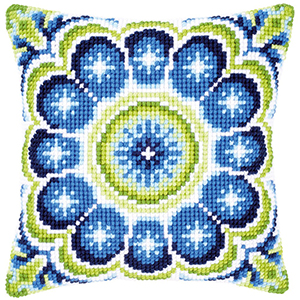 blue picture 2016 DIY Needlework Kit Acrylic Embroidery Pillow Tapestry Canvas Cushion Front Cross Stitch Pillowcase image