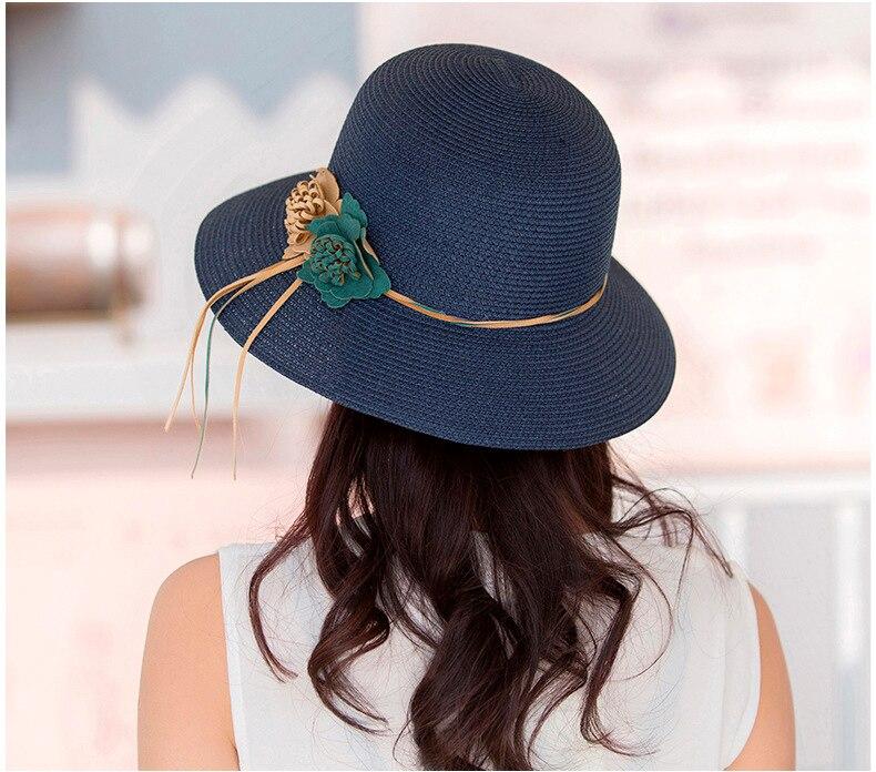 HTB1wAACocnI8KJjSspeq6AwIpXaQ - 2018 Summer New Solid Floppy Straw Hats For Women Flower Accessories ladies Summer Beach Sun Caps Panama Style Hat