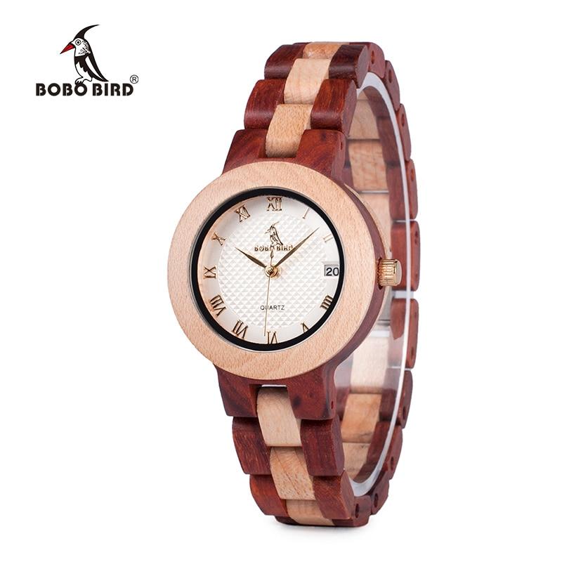 7946a5e7ba5 ... Relógios de Aves Luxo Marca Bobo de Madeira Cheia Mulheres Casuais Relógio  Pulso Quartzo Calendário-relógio Feminino J-m19 ...