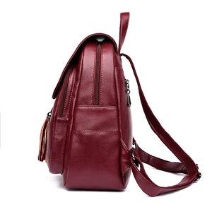 Image 2 - Fashion2018 Frauen Rucksäcke frauen Leder Rucksäcke Weibliche schule rucksack frauen Schulter taschen für teenager mädchen Reise Zurück