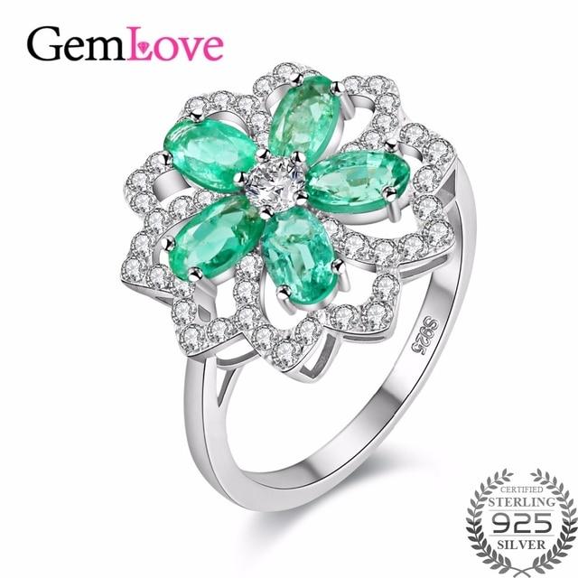Conosciuto Gemlove 1.5ct Verde Smeraldo Anello Argento 925 Anelli di Pietre  JJ88