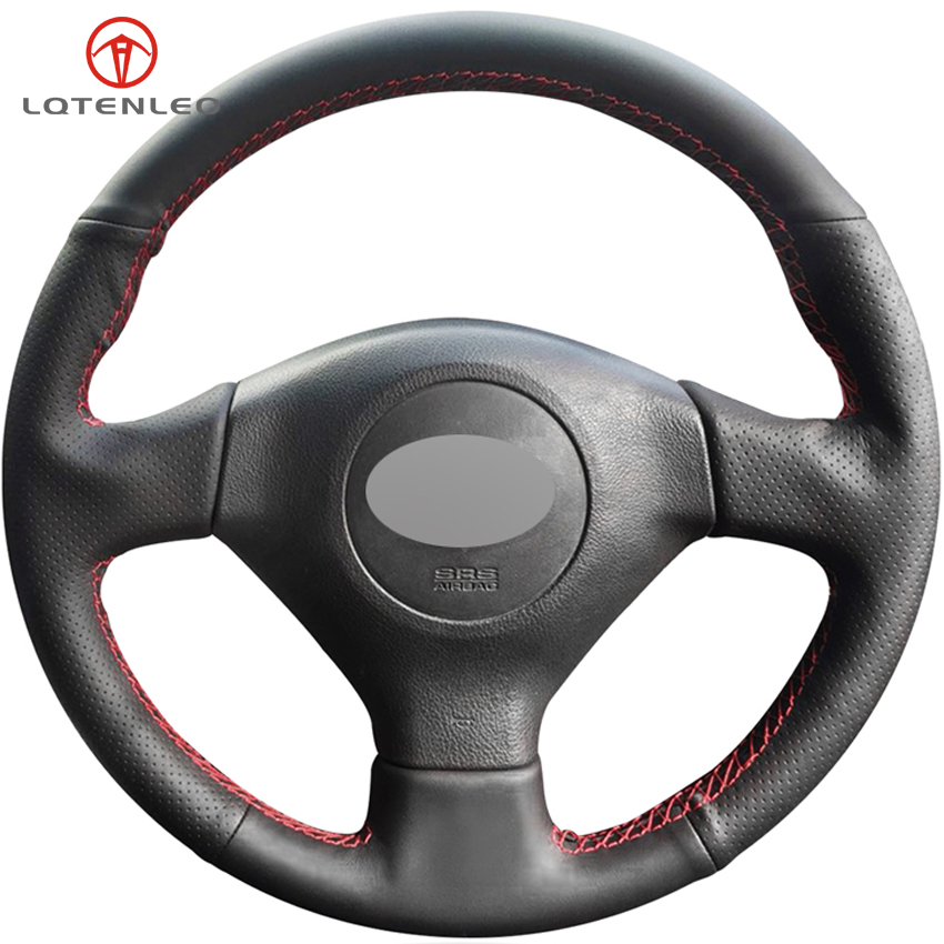 Lqtenleo Black Artificial Leather Car Steering Wheel Cover