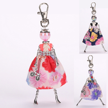 YLWHJJ new girl cute dress doll car keychain female rhinestone hot trendy key chain women Fashion  jewelry bag pendant brand