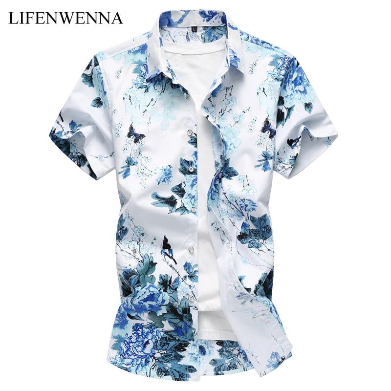 2019 Summer Men's Shirt Fashion Chinese Style Print Short Sleeve Shirt Mens Clothes Trend Mens Casual Slim Fit Print Shirt M-6XL