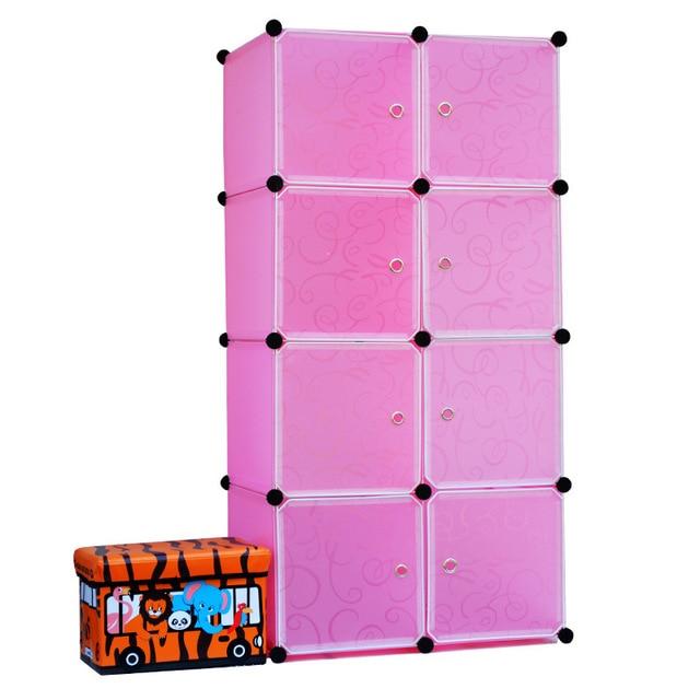 2016 Горячей Продажи Armadio 8 Кубики Ремесла Мебель Хранения Пластиковые Полки Стеллажи Пользовательские Шкаф Дизайн Шкаф Одежда Онлайн